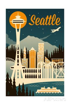 Seattle, Washington - Retro Skyline Prints by Lantern Press at AllPosters.com
