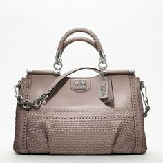 Coach Madison Woven Leather Caroline Dowel Satchel ($1,200) found on Polyvore