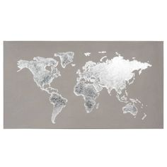 Silver -  Grey World Map Canvas 110x60