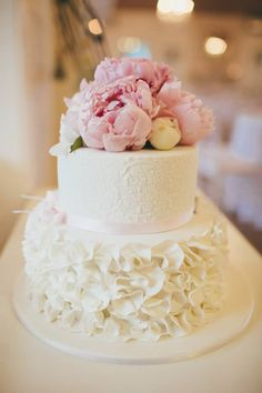 2 tier wedding cake with petal ruffles, lace stencil fresh flower top! by Sunny Girl Cakes