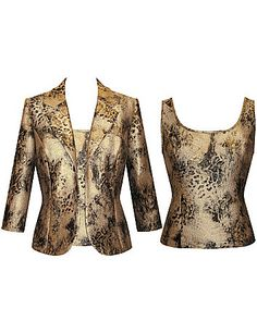 Metallic set features a sleeveless animal print tank and long sleeve open jacket. Unlined. sonsi.com