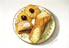 Italian Cannoli & Cookies Kitchen Art Print Food Art by PTarlowArt, $18.00