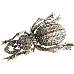 Beetle brooch set with diamonds and rubies in 14K gold and sterling silver, Moscow Russia circa 1908