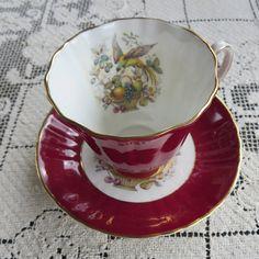 Royal Grafton Fine Bone China Tea Cup/Saucer in Burgundy, Fruit Basket and Bird Motif
