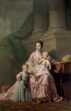 Queen Charlotte (1744-1818) with her two Eldest Sons by    Allan Ramsay (1713-84) (artist)  c. 1764-9      In Ramsay's portrait Queen Charlotte is seated with Prince Frederick, later Duke of York (1763-1827). She leans against a piano on which is a work-box and a copy of John Locke's 'Some Thoughts Concerning Education' (1693). At her knee stands Prince George, Prince of Wales (later George IV, 1762-1830), with a bow; behind him is a drum.