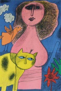 Corneille (1922-2010) Vanaf de tweede helft van de jaren zeventig schildert Corneille vooral naar levend model, waarbij de vrouw zijn voornaamste idool wordt. De lichamen van blanke en zwarte modellen worden naturalistischer met zachte rondingen.
