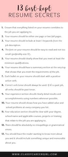 Here are 13 resume secrets that will turn your resume from boring to AWESOME. These secrets truly are important to stand out from your competition. Job Cv, Job Resume, Best Resume, Job Interview Preparation, Job Interview Tips, Job Interviews, Interview Answers, Interview Dress, Interview Outfits