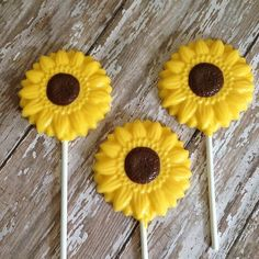 12 Sunflower Chocolate Lollipops Wedding Favors Birthday Party Fall Sweets Table Thanksgiving Bridal Shower on Etsy, $18.00
