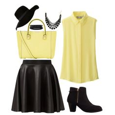 A fashion look from February 2015 featuring Uniqlo blouses, Cameo Rose mini skirts and Topshop boots. Browse and shop related looks.
