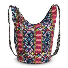 Women's Geometric Print Slouchy Crossbody Handbag - Red