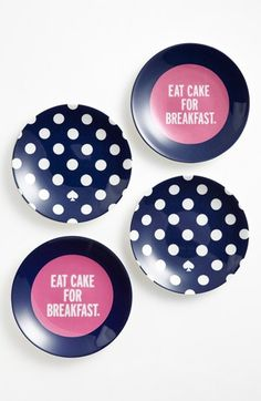 Kate Spade eat cake for breakfast plates