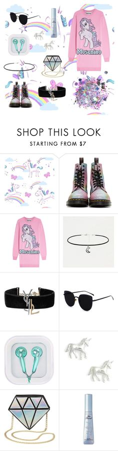 """Unicorns world 🦄🌈🌌"" by maridol ❤ liked on Polyvore featuring Dr. Martens, Moschino, Yves Saint Laurent, Estella Bartlett, Charlotte Russe, Too Faced Cosmetics and The Gypsy Shrine"