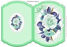 Green painted roses on lace cut and fold quick card on Craftsuprint - View Now!