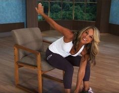 Denise Austin: Abs- Office Workout is a short but effective workout that focuses on sculpting the abs, slimming the waistline, and tightening the oblique mus. Fitness Workout For Women, Fitness Diet, Yoga Fitness, Health Fitness, Denise Austin, Chair Exercises, Relaxing Yoga, Reduce Belly Fat, Fett