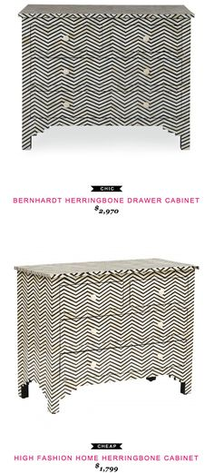 Bernhardt Herringbone Drawer Cabinet $2,970 vs High Fashion Home Herringbone Cabinet $1,799