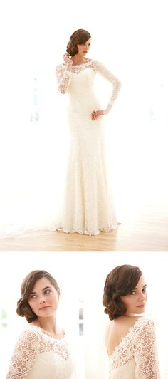 """Lace Long Sleeved Bridal Sassi Holford """"Thea"""" around $2700"""