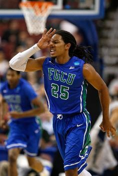 PHILADELPHIA, PA - MARCH 22: Sherwood Brown #25 of the Florida Gulf Coast Eagles reacts after he made a 3-point basket in the first half against the Georgetown Hoyas during the second round of the 2013 NCAA Men's Basketball Tournament at Wells Fargo Center on March 22, 2013 in Philadelphia, Pennsylvania. (Photo by Rob Carr/Getty Images)