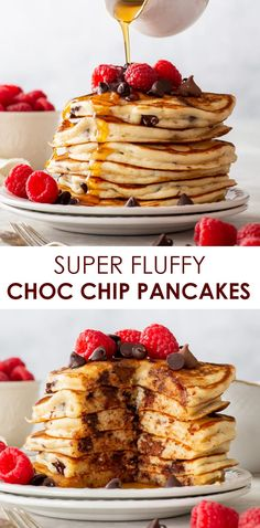 These gluten free chocolate chip pancakes tick ALL the boxes: they're soft and incredibly fluffy, packed with chocolate and easy to prepare. Best Gluten Free Desserts, Gluten Free Recipes For Breakfast, Wheat Free Recipes, Gluten Free Baking, Healthy Dessert Recipes, Vegan Recipes, Dairy Free Cheesecake, Raw Cheesecake, Flourless Desserts