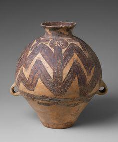 Jar (Guan)  Period: Neolithic period, Majiayao culture (ca. 3300–2050 B.C.) Date: Machang phase, ca. 2350–2050 B.C. Culture: China Medium: Earthenware with pigment Dimensions: H. 12 3/8 in. (31.5 cm); W. incl. lugs 9 1/4 in. (23.5 cm); Diam. of rim 1 1/2 in. (3.8 cm); Diam. of base 3 7/8 in. (9.8 cm)
