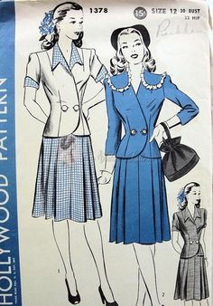 1940s WW II Era Perky Two Pc Dress Pattern 2 Jacket Styles 2 Side Pleated Skirt Hollywood 1378 Vintage Sewing Pattern Bust 30
