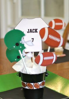 Football Birthday Party Centerpiece PIcks by TakeitPersonallybyM, $12.00