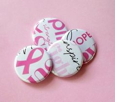Pink Pride - set of 4 Breast Cancer Awareness themed button magnets by jessijewels, $5.00