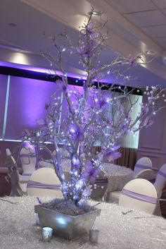 Silver & Lavender LED Tree LED Wrapped Silver Tree Centerpiece with Lavender Butterflies & Crystals