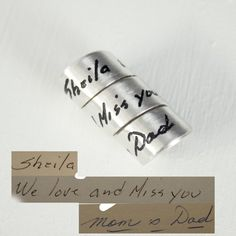 Personalized wrap pendant ready to add to your favorite chain.   #widow #bouquet #birthdaygift #writing #handwriting #silver #charms #doodles #lovenote #mourning #mourningjewelry #memorial #jewelrygram #wearitloveit #shopsmall #instajewelry #giftforhim #amazing
