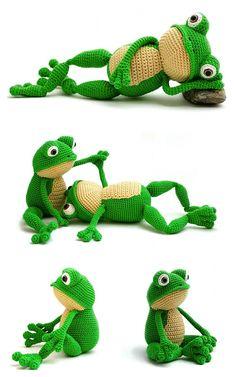 Crochet Cactus Free Pattern, Crochet Frog, Crochet Dinosaur, Crochet Amigurumi Free Patterns, Crochet Animal Patterns, Stuffed Animal Patterns, Cute Crochet, Crochet Dolls, Knit Crochet
