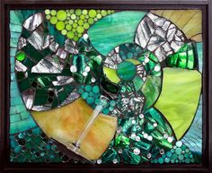 """Kasia Polkowska.  Untitled, stained glass mosaic and broken glass goblet, 9.5"""" x 12"""", 2012.    This project revolved around incorporating the broken glass from the Jewish wedding ritual of breaking the glass into a mosaic that would be a work of art in itself."""