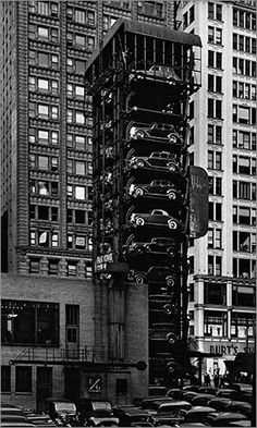 Elevator garage with parking lot. Chicago 1936
