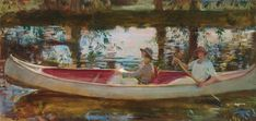 Artwork by Sir Alfred James Munnings, The White Canoe, Made of oil on canvas