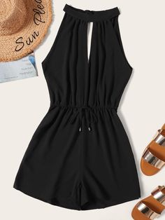 Product name: Drawstring Waist Cut Out Tie Back Playsuit at SHEIN, Category: Jumpsuits Lace Romper, Playsuit, Vetement Fashion, Jumpsuits For Girls, Teen Fashion Outfits, Women's Fashion, Tie Backs, Drawstring Waist, Ideias Fashion