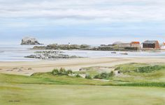 On a golf trip to Scotland we played a beach side course called North Berwick.  This is a view of part of the town from the 1st tee area.