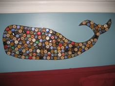 Bottle cap Whale wall art, with crackle finish, wood cut-out