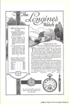 1922 Longines Watch Vintage Print Ad Endorsed by World's Official Observatories. #longines #observatory #vintage #watch #ads