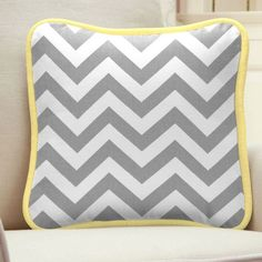 Gray and Yellow Zig Zag Square Decorative Pillow | Perfect for tying in the rocker. #carouseldesigns #nursery