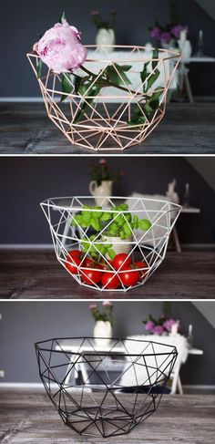 There's no end to the storage (and styling) potential of Etsy seller LikeLifeStreetwear's geometric wire baskets, sold in black, white, or peach. #etsyfinds