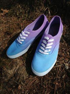 DIY ombré canvas shoes - 20 DIY Makeover Sneakers Ideas