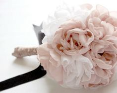 Peony fabric bridal bouquet, Vintage inspired weddings, Handmade fabric flowers bouquet, Bride