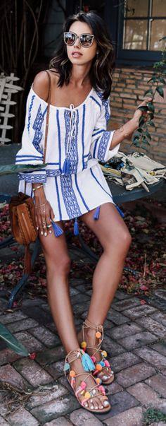 Annabelle Fleur + major bohemian vibes + super cute off the shoulder aztec style dress + classic multicolour sandals + pom poms and tassel detailing!  Dress: DODO BAR OR, Sandals: Mabu By Maria BK, Bag: Chloe.