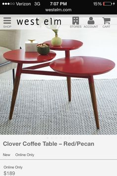 West Elm Clover Coffee Table In Bermuda And Pecan Мебель - West elm clover table