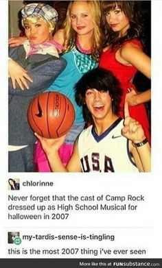 Oh my god the Camp Rock cast dressed as the High School Musical characters! This is my childhood in a picture. Camp Rock, Disney Memes, Disney Films, Disney And Dreamworks, 90s Memes, Old Disney Movies, Funny Memes, Old Disney Channel, Disney Channel Stars