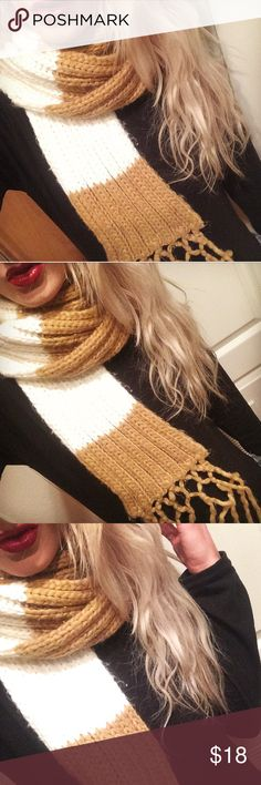 🌲 thick winter scarf 🌲White and tan - Mustard Knitted Scarf. Brand: madewell. Thick stripes. yarn fringe on each side ends. Thick scarf Madewell Accessories Scarves & Wraps