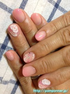 Flowers and 3D gradient nail pink salmon