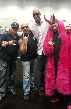 """Counting Cars stars Roli Szabo, Kevin Mack and Horny Mike with former NBA player Jerome """"Junkyard Dog"""" Williams at the Nightclub & Bar Show ..."""