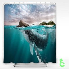 Cheap animals underwater digital art whale beach island Shower Curtain