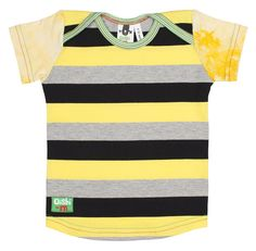 Gorgeous yellow, grey and black striped cotton elastane body with yellow tie-tided short-sleeves. Oh so fun ... green micro stripe trim around envelope neck.  This T features Oishi-m's envelope neck for ease during dress up time.