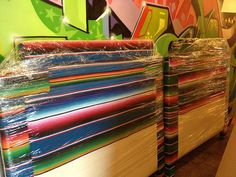 serape covered headboards - for vintage Mexican items for your home, visit www.mainlymexican.com #Mexico #Mexican