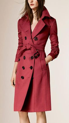 Dusty peony rose Sandringham Fit Cashmere Trench Coat - Image 1
